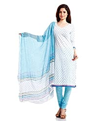 Pinkshink Womens Cotton Unstitched Salwar Suit Dress Material (Psk32 _White _Free Size)