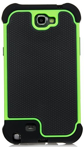 Galaxy Note 2 Case, iSee Case (TM) Heavy Duty Dual Layer Hybrid Protective Cover Case for Samsung Galaxy Note 2 II N7100 (Note2-3 in 1 Green) (Galaxy Ii Case compare prices)
