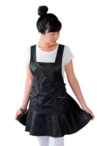 JMT Beauty Black Salon Apron with Ruffle Flair, Regular Size, fits for Size 2 to Size 12, Free Shipping Reviews