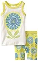 Tea Collection Baby-Girls Infant Sunflower Pajama, Yuzu, 6-12 Months