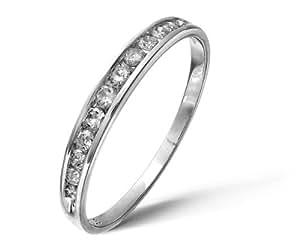 Bague - PR04775W-K - Femme - Or Blanc 375/1000 (9 Cts) 1.05 Gr - Diamant 0.02 Cts - T 50