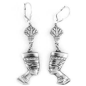 Egyptian Jewelry Silver Queen Nefertiti Earrings
