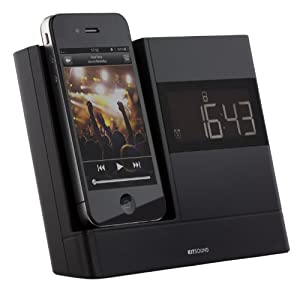 KitSound XDOCK Clock Radio Dock for 30-Pin Connector iPod and iPhone 4S/4/3GS/3G, iPod Nano 5th Generation and iPod Touch 4th Generation - Black