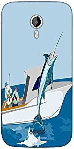 Snoogg blue marlin fish jumping retro Designer Protective Back Case Cover For Micromax A116