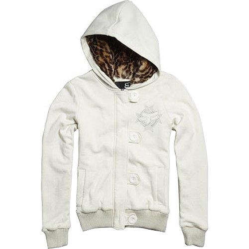 Fox Racing Rebel Tab Hood Lined Girls Hoody Zip Sportswear Sweatshirt - Color: Stone, Size: Large
