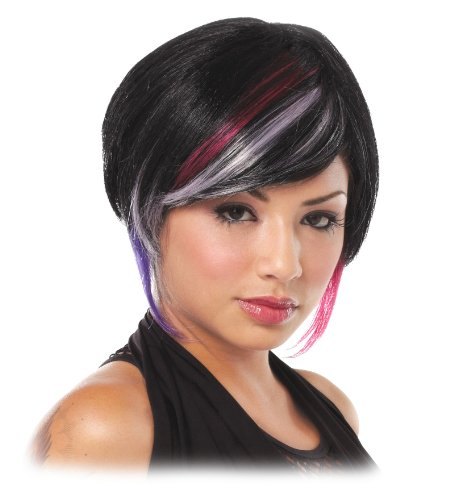 Short Black Wig White Lavender Red Chunky Streaks Womens Theatrical Costume