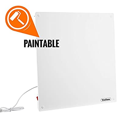 VonHaus 450W Wall Mounted Electric Flat Panel Heater - Paintable Slimline Low Energy Eco Ceramic Space Heater (23.5 x 23.5 x 0.4 inches)