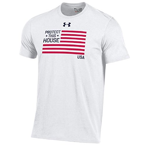 Under Armour Men's Big UA Logo-United States Military-Charged Cotton T-Shirt-Protect This House-American Flag-White-XL