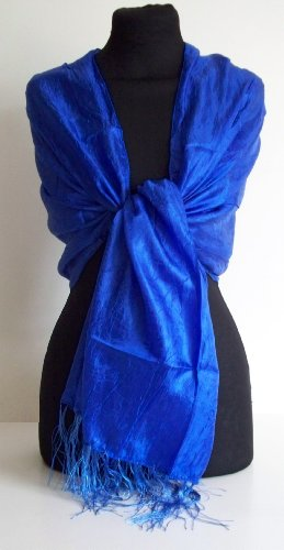 Satin Feel (Electric Royal Blue) Thai Silk-Mix Scarf picture