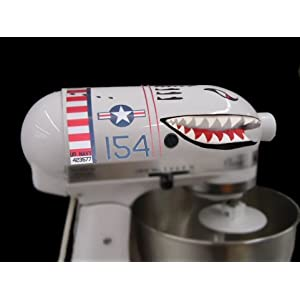 Flying Tiger Shark Plane Decal Sticker Mixer Cover Kit Red