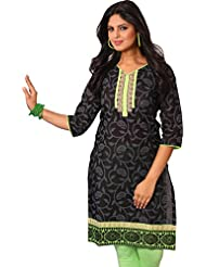 Arista Ready To Wear Stitched Black Cotton Kurti With Leggings