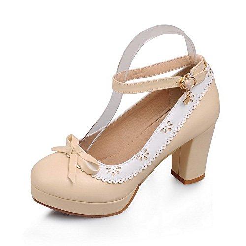 1to9-damen-schnalle-dekolletiertes-oberteil-round-toe-kleid-gummi-pumps-shoes-beige-beige-grosse-355