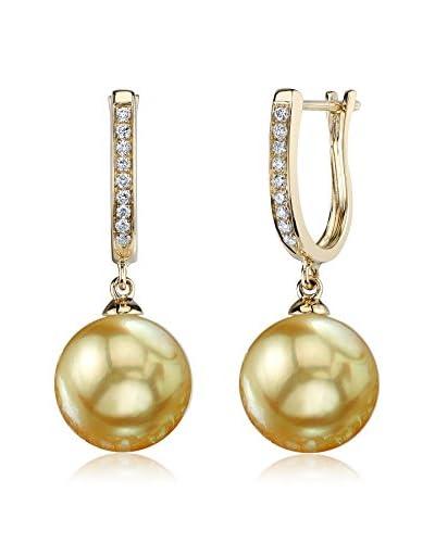 Radiance Pearl Kim 9mm Golden South Sea Pearl & Diamond 14K Gold Earrings