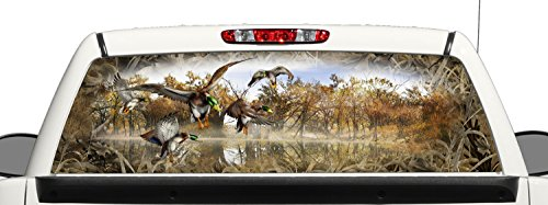 Truck SUV Bow Mallard Duck Hunting Grassland Camo Rear Window Graphic Decal Perforated Vinyl Wrap (18x58 Inches) (Hunting Rear Window Decal compare prices)