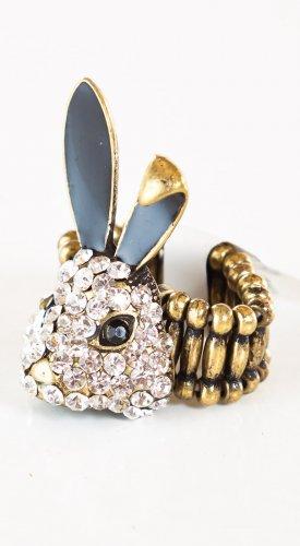 Zad Fashion Inc Rhinestone Rabbit Stretch Ring - Gold