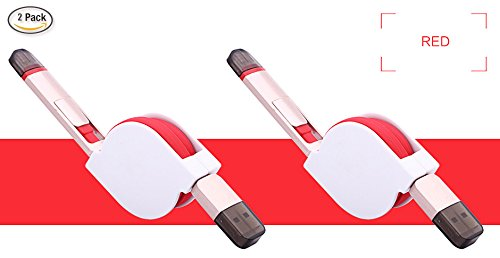2 Pack, Retractable USBLink Duo 2-in-1 Sync and Charge Cable (3.3ft) with Lightning & microUSB for iPhone 6s plus SE, iPad Air, Samsung Galaxy (Red)
