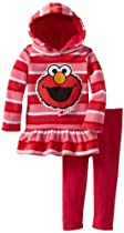 Sesame St Baby-girls Infant 2 Piece Stripped Elmo Pullover Hood and Pant, Pink, 12 Months