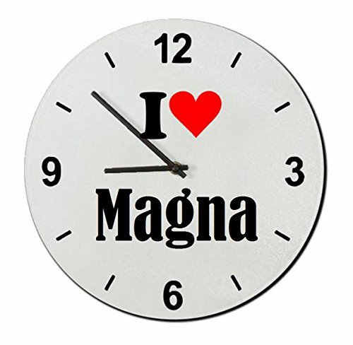 """Regali Esclusivi: Orologi da parete """"I Love Magna"""", un Grande regalo viene dal Cuore - Ti amo - Orologio vetro - Punte di Natale"""
