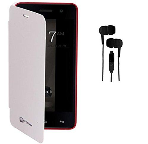 EXXONINC Premium Flip Cover Case for Micromax Yureka Yu YUREKA AO5510 Mobile (white)+3.5mm Stereo Earphones