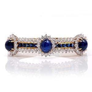 Estate 19.25ct Diamond Sapphire 18k Gold Bangle Bracelet