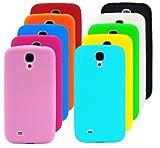 Poposh 10 in1 Zubehör Set Bunt Gel Silikon Hülle für Samsung Galaxy S4 Mini I9190 i9192 i9195 Schutzhülle Case Cover Tasche Etui Schutz Bumper - Grün Orange Rot Rosa Blau Weiss