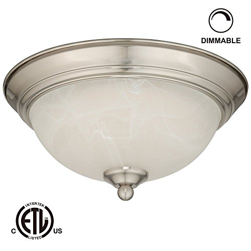 12W 11-Inch Dimmable Led Flush Mount Ceiling Light - 50W Equivalent 3000K Warm White Led Ceiling Light Fixtures - 800Lm Etl-Listed Led Surface Mount Lighting Fixtures (Satin Nickel)