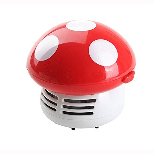 HONBAY Mini Cute Table Dust Vaccum Cleaner, Mushroom Shaped New Portable Corner Desk Vaccum Cleaner Mini Cute Vacuum Cleaner Dust Sweeper (Red) (Corner Vacuum compare prices)