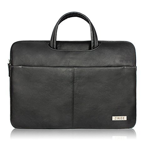 "Zikee MacBook Air/MacBook Pro 13 13.3"" inch pelle il computer portatile Borsa Sleeve Case Cover Shell Protective Skin with handle and pockets - Water resistant PU leather Notebook Computer Briefcase Carrying Bag (Nero)"
