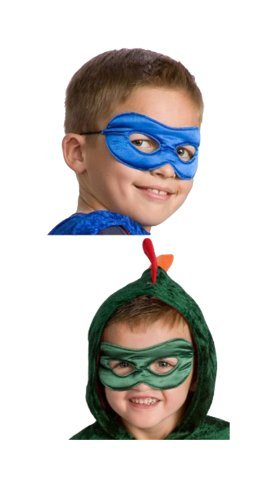 Little Adventures Reversible Superhero Mask Set for Boys-Red & Black, Blue & Green