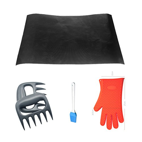 Cold Meat Forks, Petforu Bear Paw Meat Handler Pulling Forks + Teflon BBQ Grill Mat + Red Thicken Silicone Oven