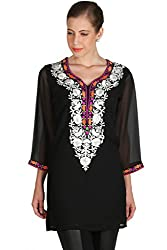 Black Georgette Kurti with Embroidery