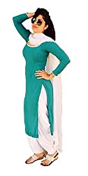 Mastani Kreation's Stylish and Smart Looking Turquoise Georgette Collection Dresses With White Santoon Semi Patiala Bottom and White Chiffon Dupatta