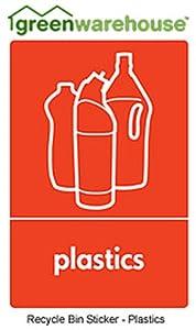 Recycling bin sticker 10cm x 15cm Plastics