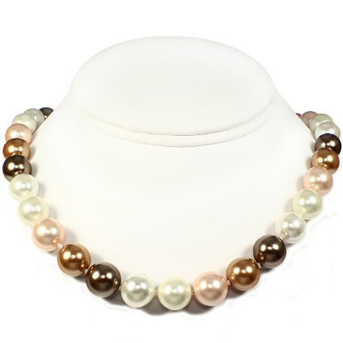 Mother of Pearl Necklace - High Polished Bright Gold, Brown White & Peach (12mm)
