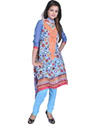 Exotic India River-Blue Choodidaar Kameez Suit With Geometric Print All-O - Blue