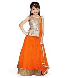 The Fashionup orenge semistitched LenghaCholi for14-15year Girls