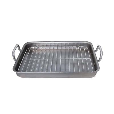 "de Buyer Mineral B Element - 16.73"" x 13.4"" Rectangular Steel Roasting Pan w/Stainless Steel Grid"