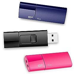 Silicon Power 16GB 3-Pack Ultima U05 USB 2.0 Flash Drive, Blue/Pink/black (SP048GBUF2U05VCMBT)