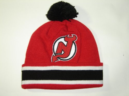 Mitchell and Ness NHL New Jersey Devils Cuffed Premium Knit Hat w/ Pom at Amazon.com