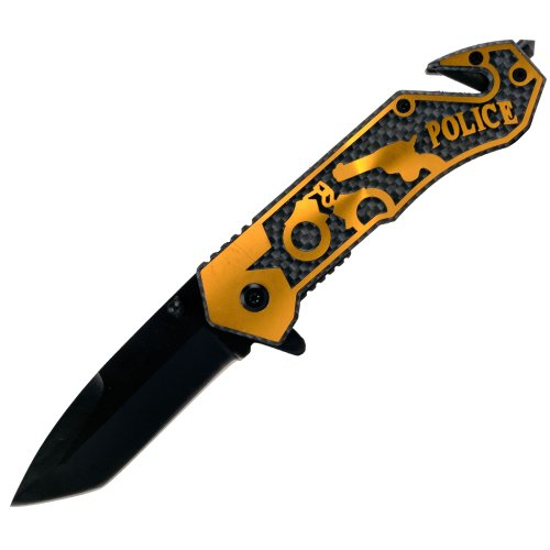 Whetstone Cutlery Golden Police Assisted Open Rescue Knife - 7.75, Orange/Black