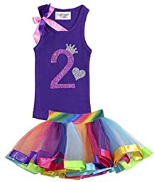 Bubblegum Divas Little Girls\' 2nd Birthday Purple Rainbow Tutu Outfit 24 Months
