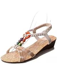 Inkach Women Summer Sandals New Summer Women Bohemia Flat Shoes Beach Sandals Slippers Flip Flops