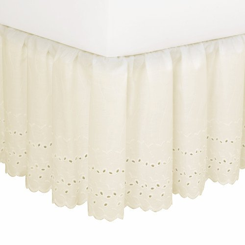 Cheap Elegant Eyelet Dust Ruffle - Eyelet Bed Skirt, Queen - beige