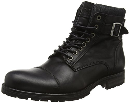 JACK & JONES Jfwalbany Leather Boot, Stivali Combat Uomo, Nero (Black), 40 EU