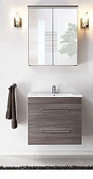 Set da bagno cosmo S 60cm Mobile Bagno Set di mobili da bagno bianco lucido Softclose LED 01115