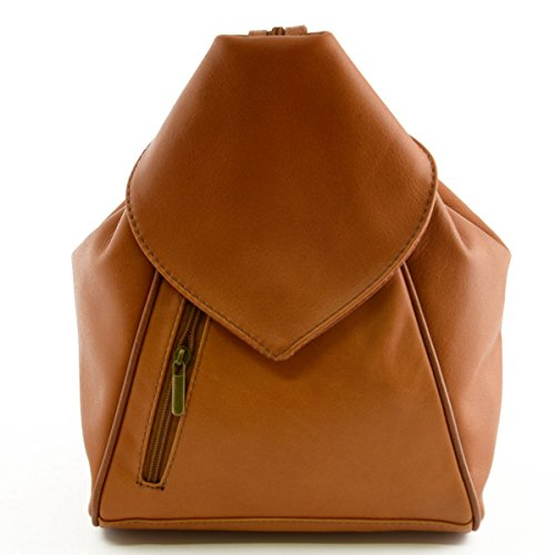 Zaino Donna In Pelle Colore Cognac - Pelletteria Toscana Made In Italy - Zaino
