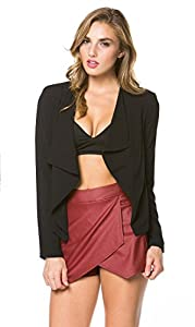 Solid Flyaway Blazer in Black