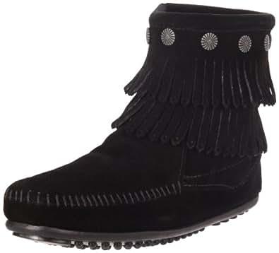 Minnetonka Women's Double Fringe Side Zip Boot,Black,5 M US