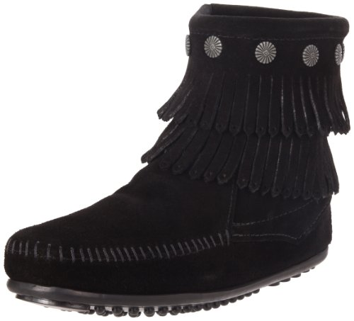 Minnetonka Women's Hi Top Back Zip Double Fringe Boot,Black,7 M US