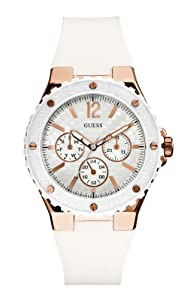GUESS Women's U12652L1 Carbon-Fiber Inspired White & Rose Gold-Tone Sport Watch